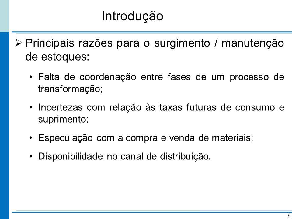 Introdução Principais razões para o surgimento / manutenção de estoques: Falta de coordenação entre fases de um processo de transformação; Incertezas