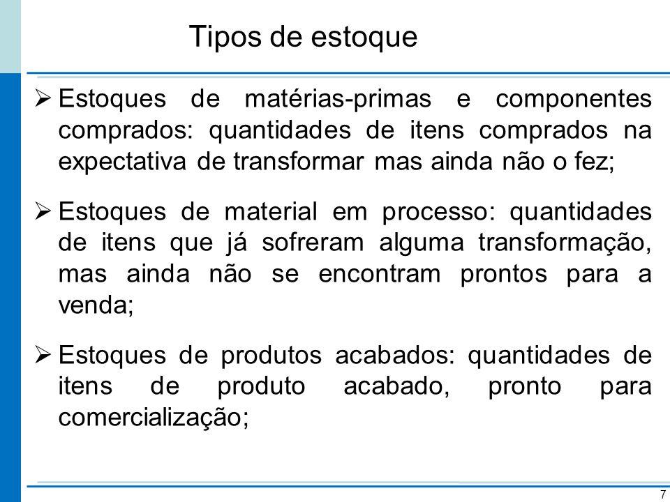 Tipos de estoque Estoques de materiais para MRO (manutenção, reparo e operação): quantidade de itens adquiridos como apoio à atividade de produção.