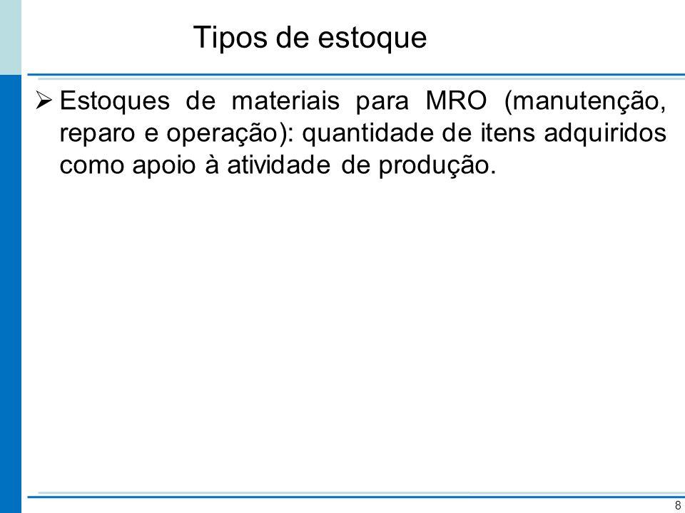 Tipos de estoque Estoques de materiais para MRO (manutenção, reparo e operação): quantidade de itens adquiridos como apoio à atividade de produção. 8