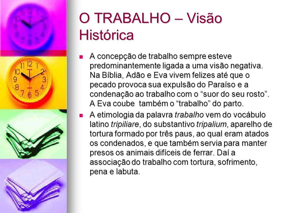 O TRABALHO – Visão Histórica A concepção de trabalho sempre esteve predominantemente ligada a uma visão negativa. Na Bíblia, Adão e Eva vivem felizes
