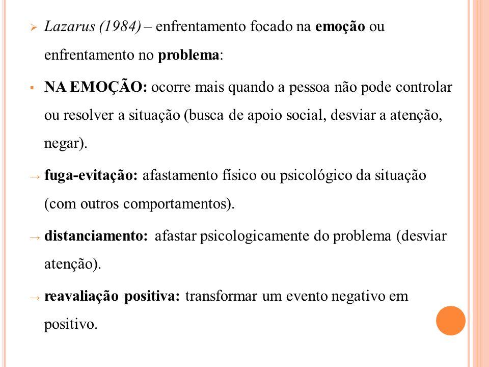 Lazarus (1984) – enfrentamento focado na emoção ou enfrentamento no problema: NA EMOÇÃO: ocorre mais quando a pessoa não pode controlar ou resolver a