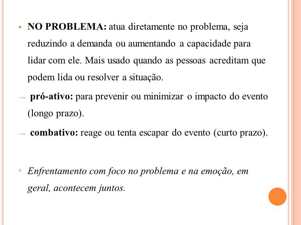 NO PROBLEMA: atua diretamente no problema, seja reduzindo a demanda ou aumentando a capacidade para lidar com ele. Mais usado quando as pessoas acredi