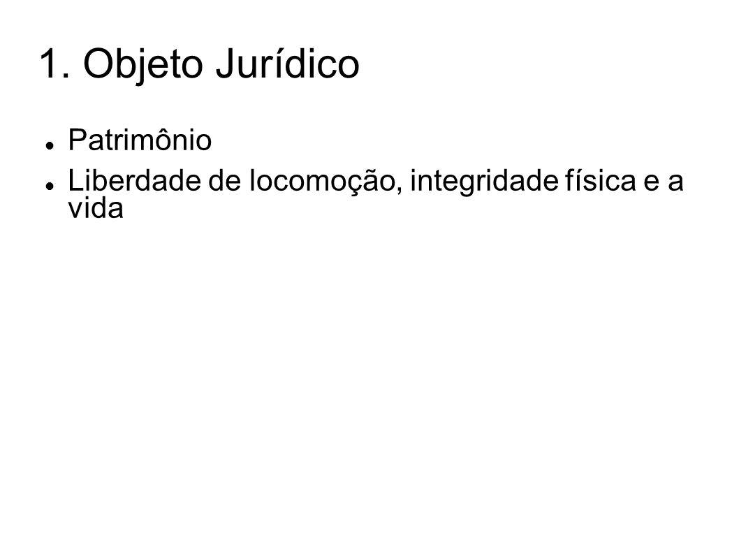 1. Objeto Jurídico Patrimônio Liberdade de locomoção, integridade física e a vida