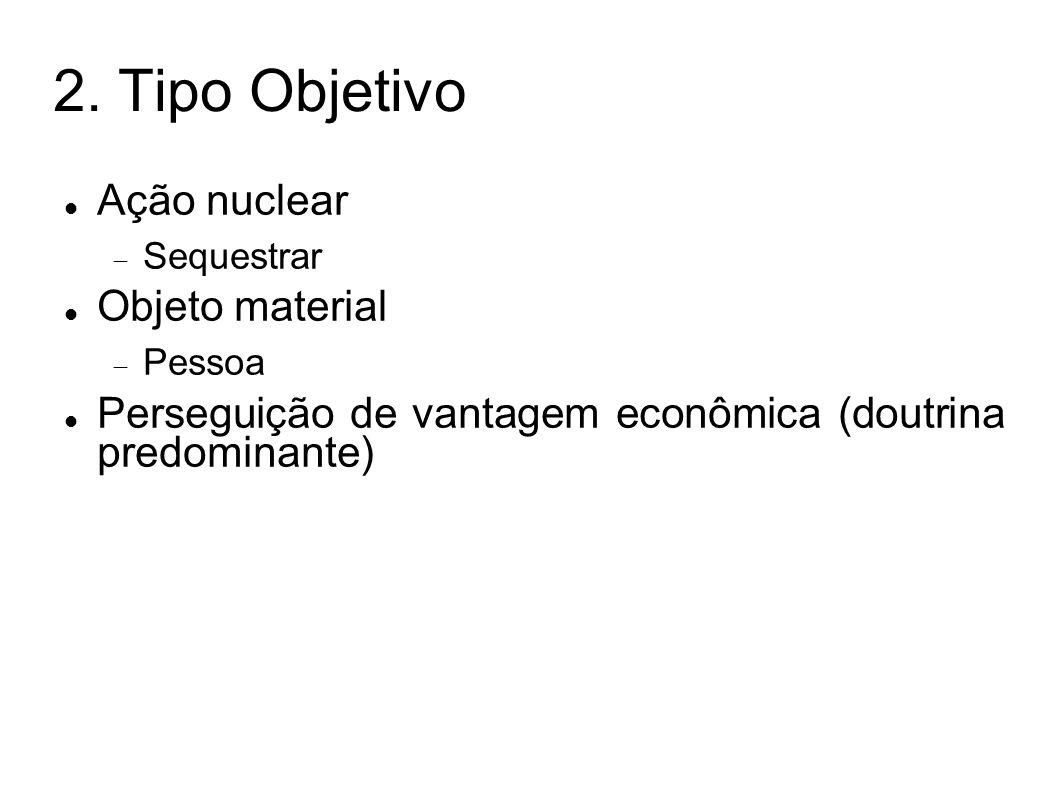 2. Tipo Objetivo Ação nuclear Sequestrar Objeto material Pessoa Perseguição de vantagem econômica (doutrina predominante)