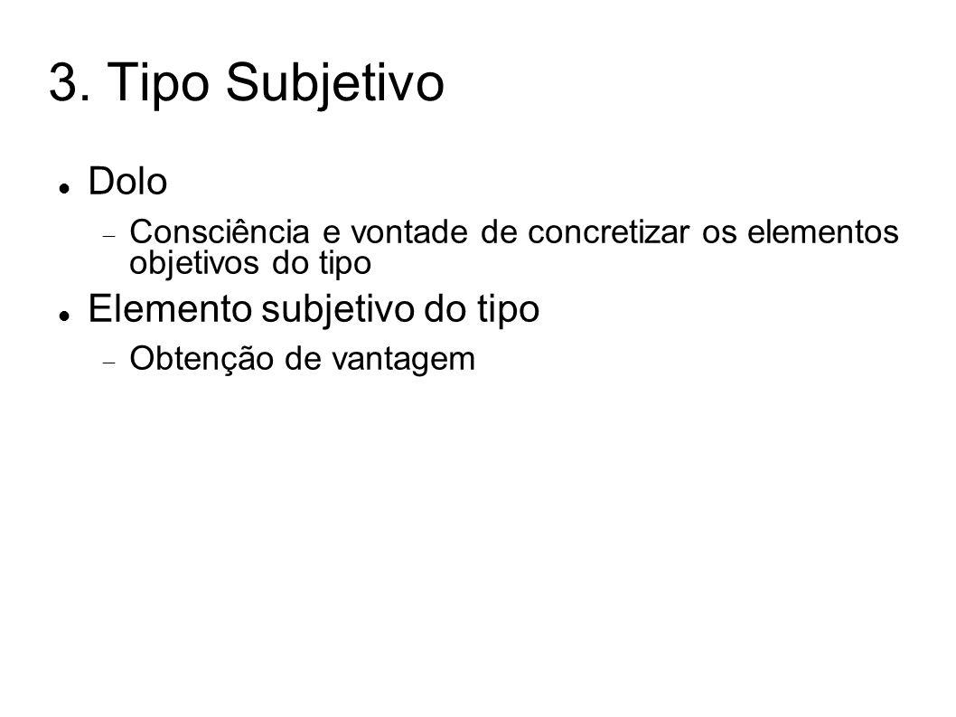 3. Tipo Subjetivo Dolo Consciência e vontade de concretizar os elementos objetivos do tipo Elemento subjetivo do tipo Obtenção de vantagem