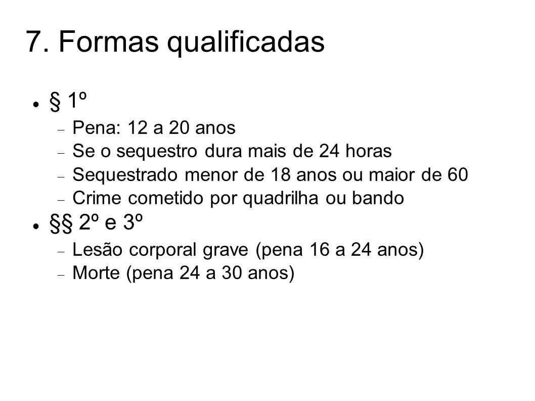 7. Formas qualificadas § 1º Pena: 12 a 20 anos Se o sequestro dura mais de 24 horas Sequestrado menor de 18 anos ou maior de 60 Crime cometido por qua