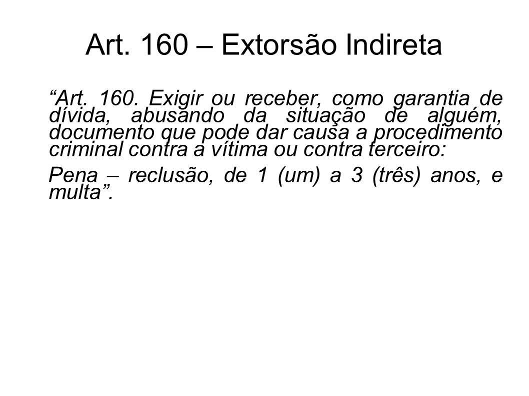 Art. 160 – Extorsão Indireta Art. 160. Exigir ou receber, como garantia de dívida, abusando da situação de alguém, documento que pode dar causa a proc