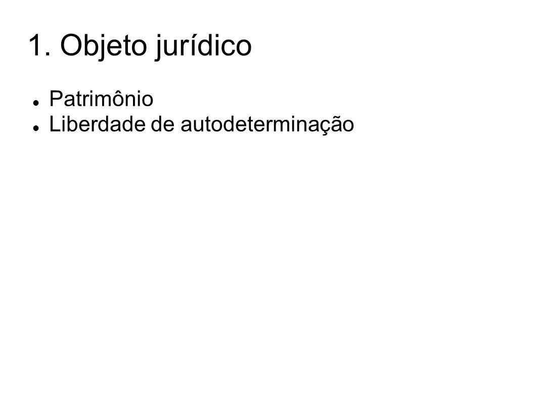 1. Objeto jurídico Patrimônio Liberdade de autodeterminação