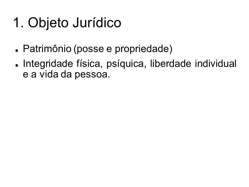1. Objeto Jurídico Patrimônio (posse e propriedade) Integridade física, psíquica, liberdade individual e a vida da pessoa.