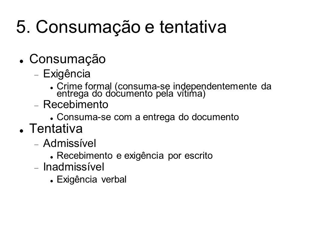 5. Consumação e tentativa Consumação Exigência Crime formal (consuma-se independentemente da entrega do documento pela vítima) Recebimento Consuma-se