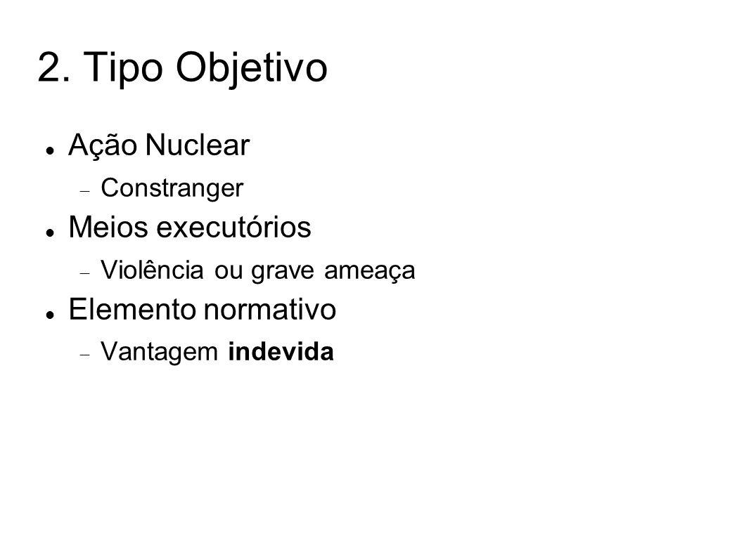 2. Tipo Objetivo Ação Nuclear Constranger Meios executórios Violência ou grave ameaça Elemento normativo Vantagem indevida