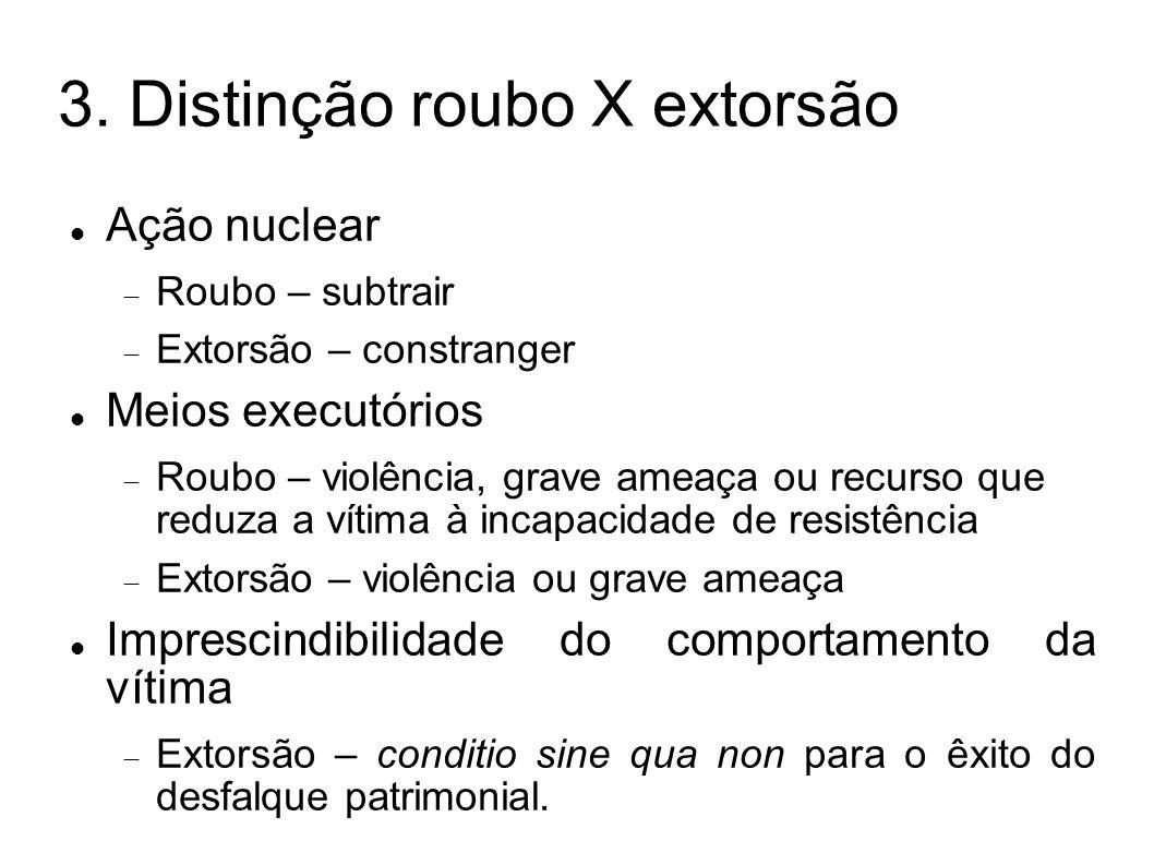 3. Distinção roubo X extorsão Ação nuclear Roubo – subtrair Extorsão – constranger Meios executórios Roubo – violência, grave ameaça ou recurso que re