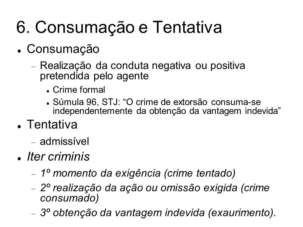 6. Consumação e Tentativa Consumação Realização da conduta negativa ou positiva pretendida pelo agente Crime formal Súmula 96, STJ: O crime de extorsã