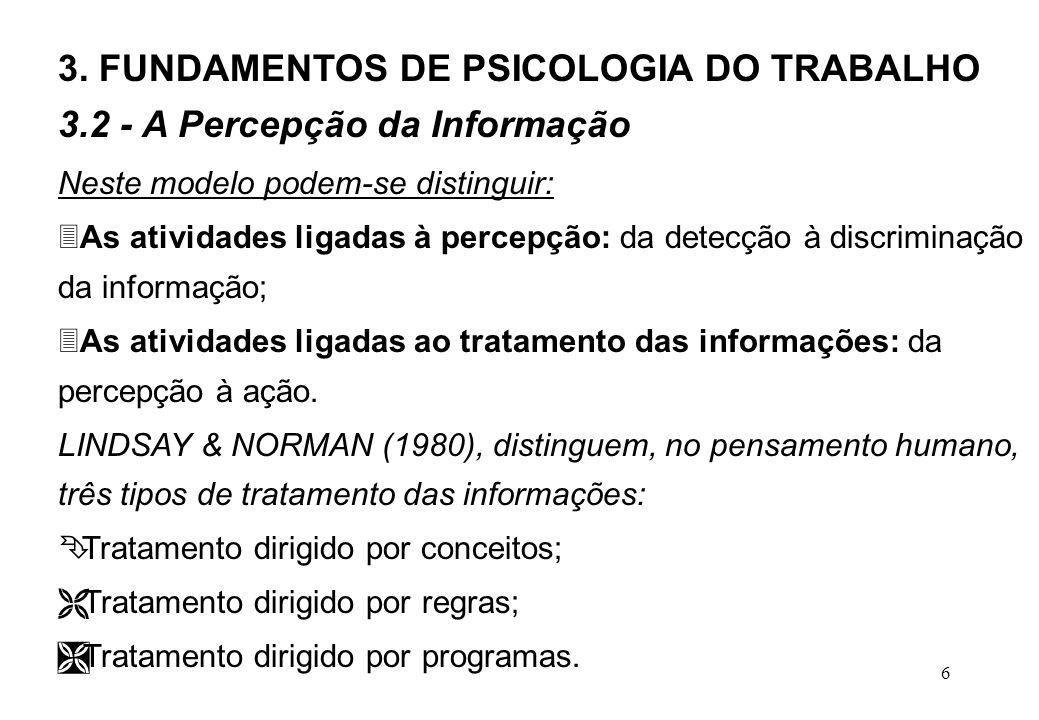 6 Neste modelo podem-se distinguir: 3As atividades ligadas à percepção: da detecção à discriminação da informação; 3As atividades ligadas ao tratamento das informações: da percepção à ação.