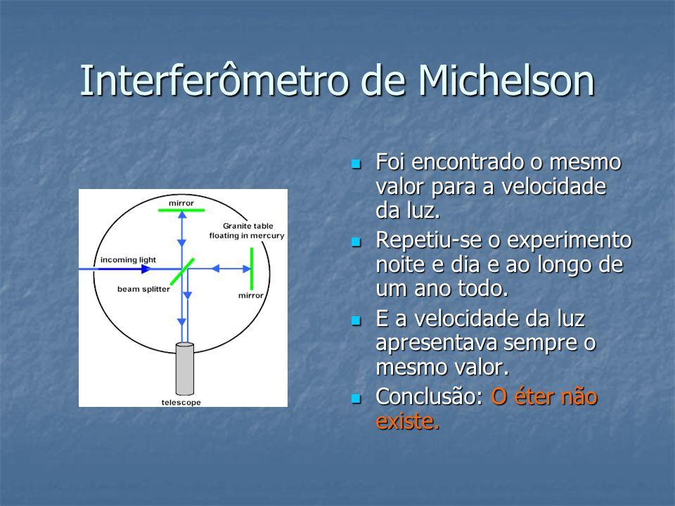 Interferômetro de Michelson Foi encontrado o mesmo valor para a velocidade da luz. Foi encontrado o mesmo valor para a velocidade da luz. Repetiu-se o