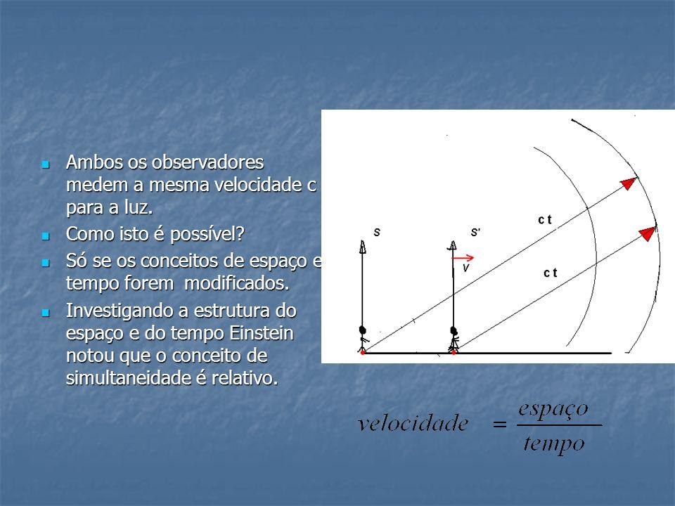Ambos os observadores medem a mesma velocidade c para a luz. Ambos os observadores medem a mesma velocidade c para a luz. Como isto é possível? Como i
