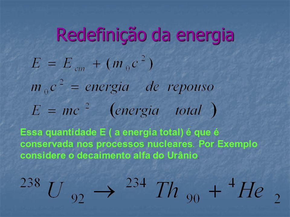 Redefinição da energia Essa quantidade E ( a energia total) é que é conservada nos processos nucleares. Por Exemplo considere o decaimento alfa do Urâ