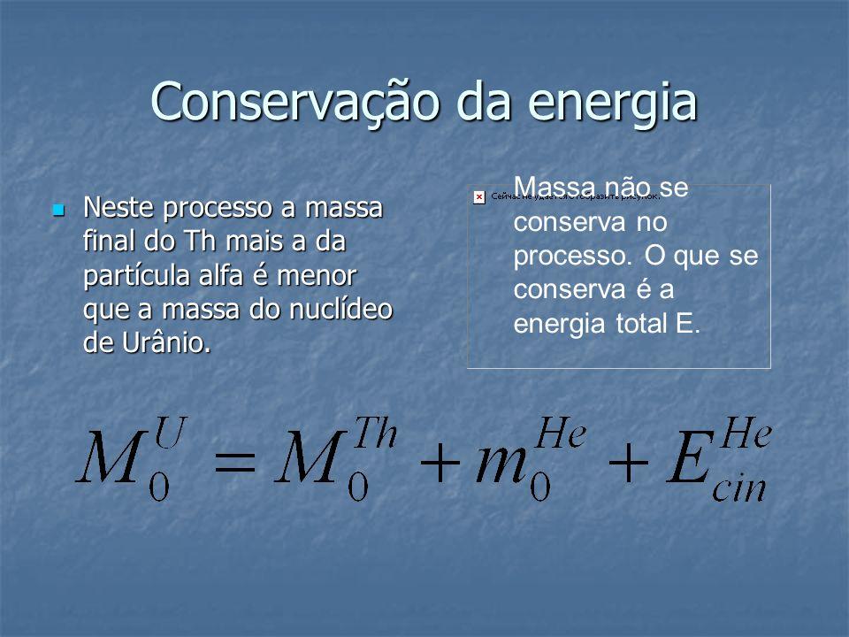 Conservação da energia Neste processo a massa final do Th mais a da partícula alfa é menor que a massa do nuclídeo de Urânio. Neste processo a massa f