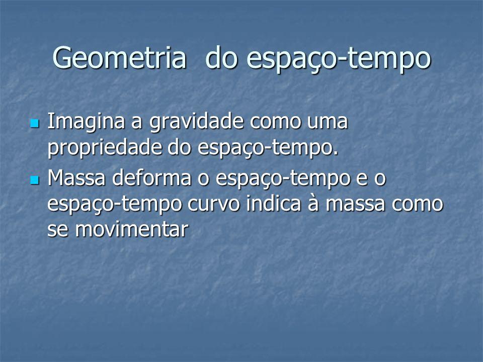 Geometria do espaço-tempo Imagina a gravidade como uma propriedade do espaço-tempo. Imagina a gravidade como uma propriedade do espaço-tempo. Massa de