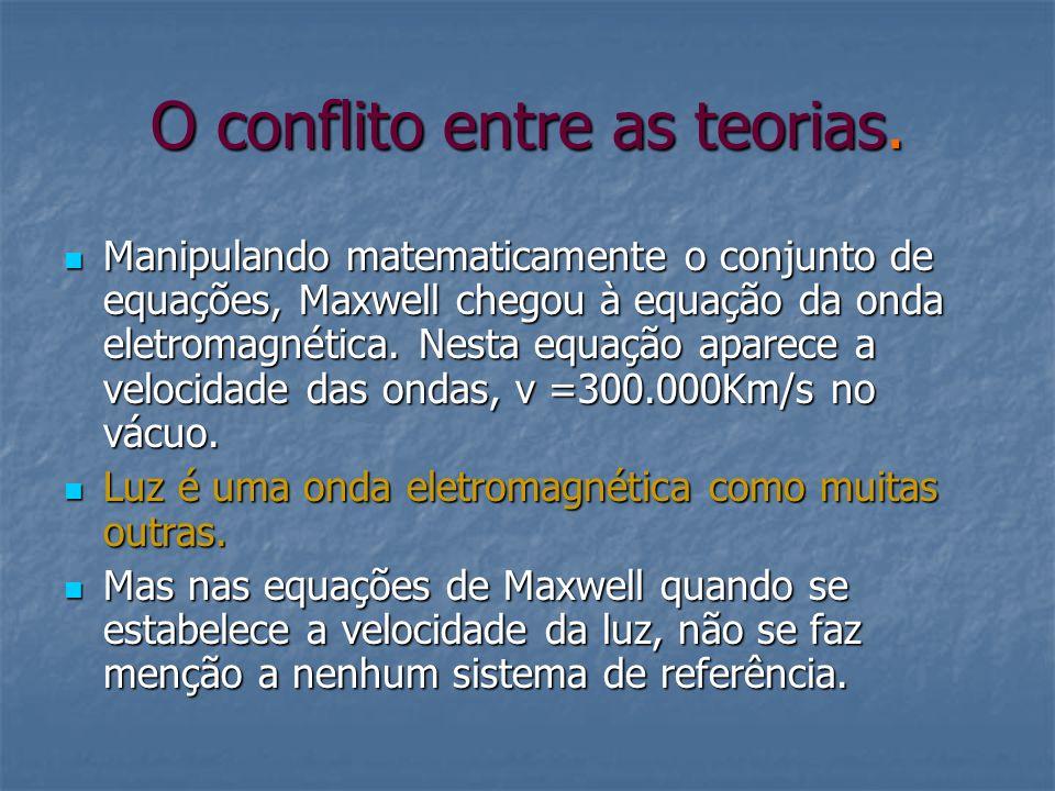 O conflito entre as teorias. Manipulando matematicamente o conjunto de equações, Maxwell chegou à equação da onda eletromagnética. Nesta equação apare
