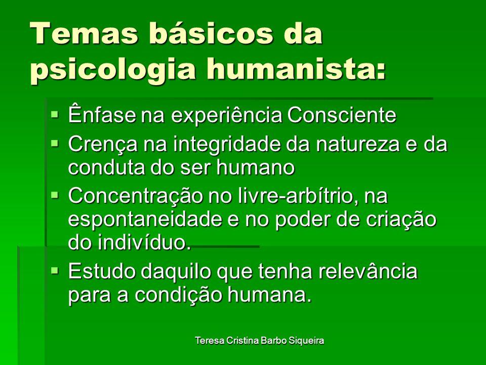 Teresa Cristina Barbo Siqueira Temas básicos da psicologia humanista: Ênfase na experiência Consciente Ênfase na experiência Consciente Crença na inte