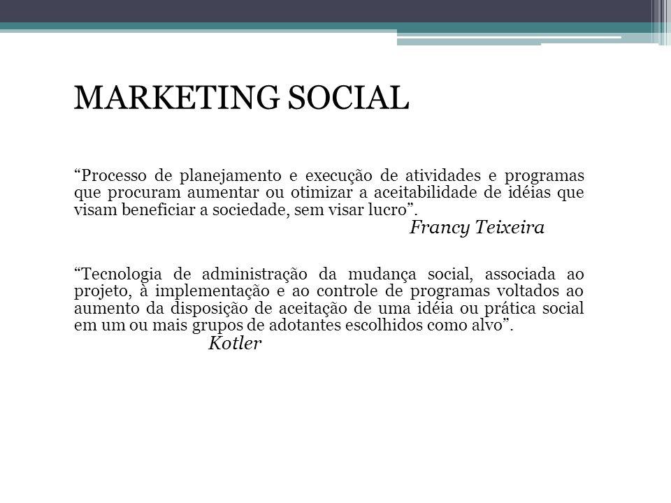 MARKETING SOCIAL Processo de planejamento e execução de atividades e programas que procuram aumentar ou otimizar a aceitabilidade de idéias que visam