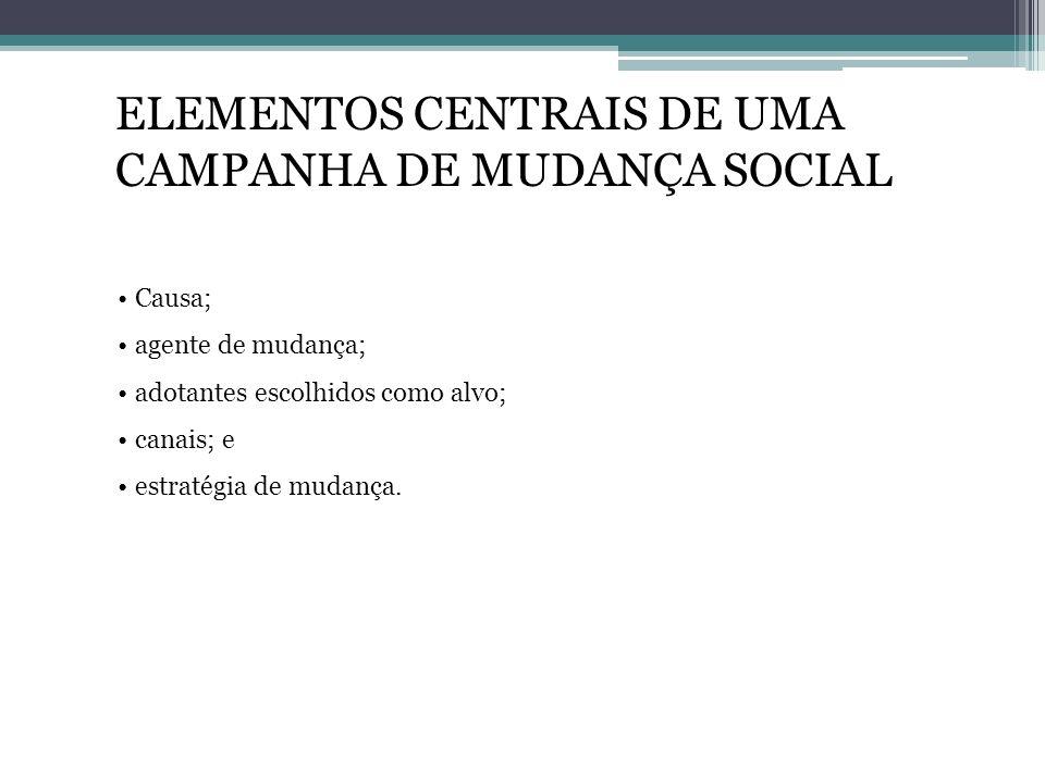 ELEMENTOS CENTRAIS DE UMA CAMPANHA DE MUDANÇA SOCIAL Causa; agente de mudança; adotantes escolhidos como alvo; canais; e estratégia de mudança.