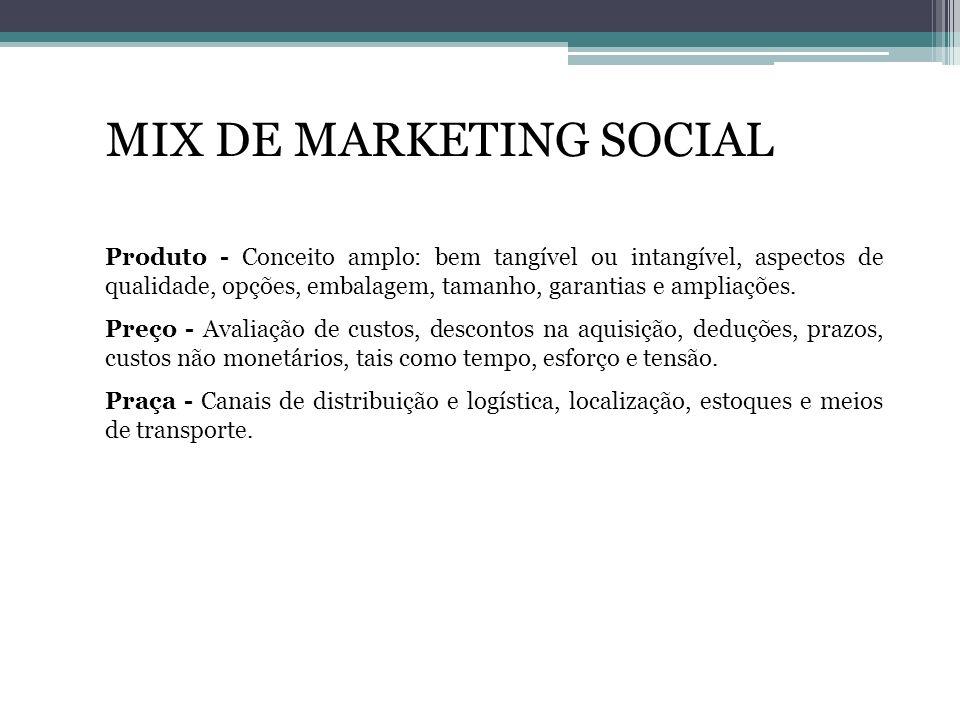 MIX DE MARKETING SOCIAL Produto - Conceito amplo: bem tangível ou intangível, aspectos de qualidade, opções, embalagem, tamanho, garantias e ampliaçõe