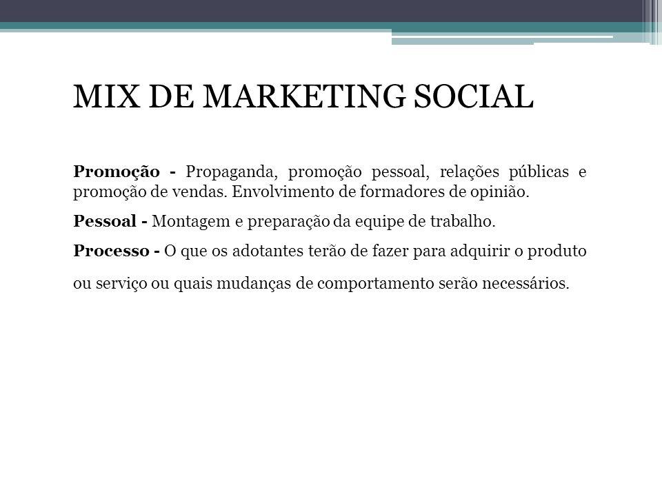 MIX DE MARKETING SOCIAL Promoção - Propaganda, promoção pessoal, relações públicas e promoção de vendas. Envolvimento de formadores de opinião. Pessoa