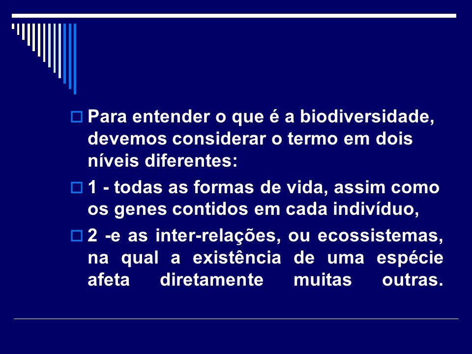 Para entender o que é a biodiversidade, devemos considerar o termo em dois níveis diferentes: 1 - todas as formas de vida, assim como os genes contido