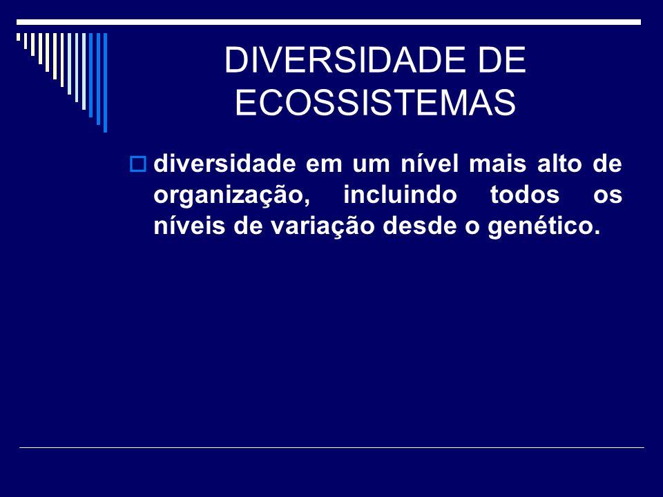 DIVERSIDADE DE ECOSSISTEMAS diversidade em um nível mais alto de organização, incluindo todos os níveis de variação desde o genético.