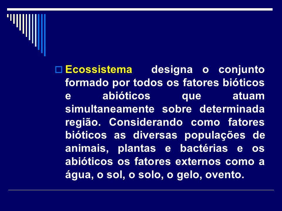 Ecossistema designa o conjunto formado por todos os fatores bióticos e abióticos que atuam simultaneamente sobre determinada região. Considerando como
