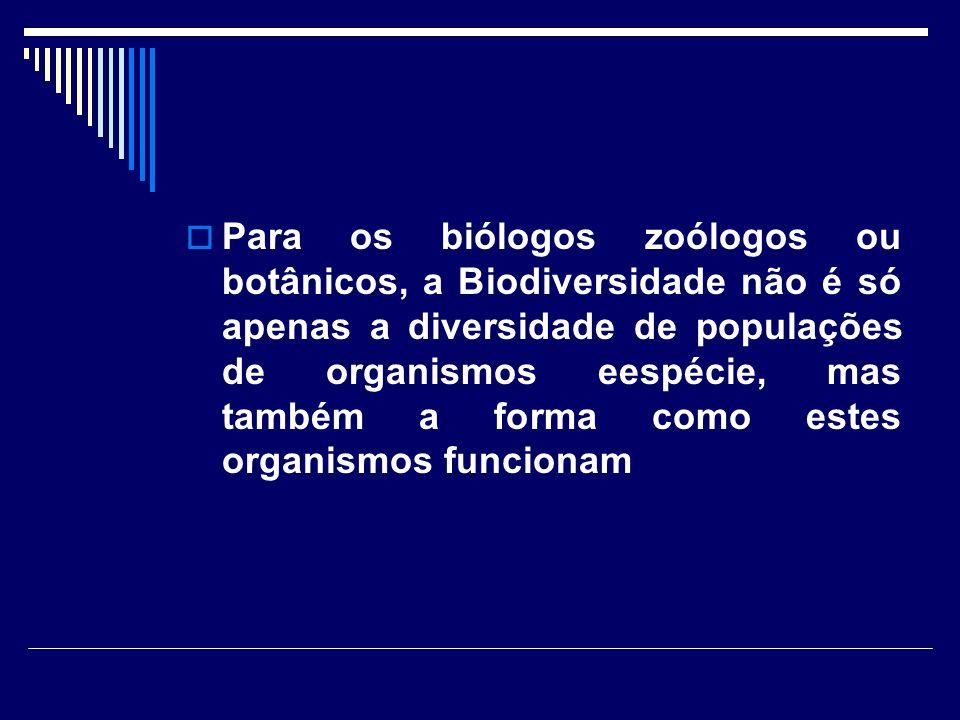 Para os biólogos zoólogos ou botânicos, a Biodiversidade não é só apenas a diversidade de populações de organismos eespécie, mas também a forma como e