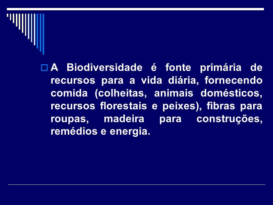 A Biodiversidade é fonte primária de recursos para a vida diária, fornecendo comida (colheitas, animais domésticos, recursos florestais e peixes), fib