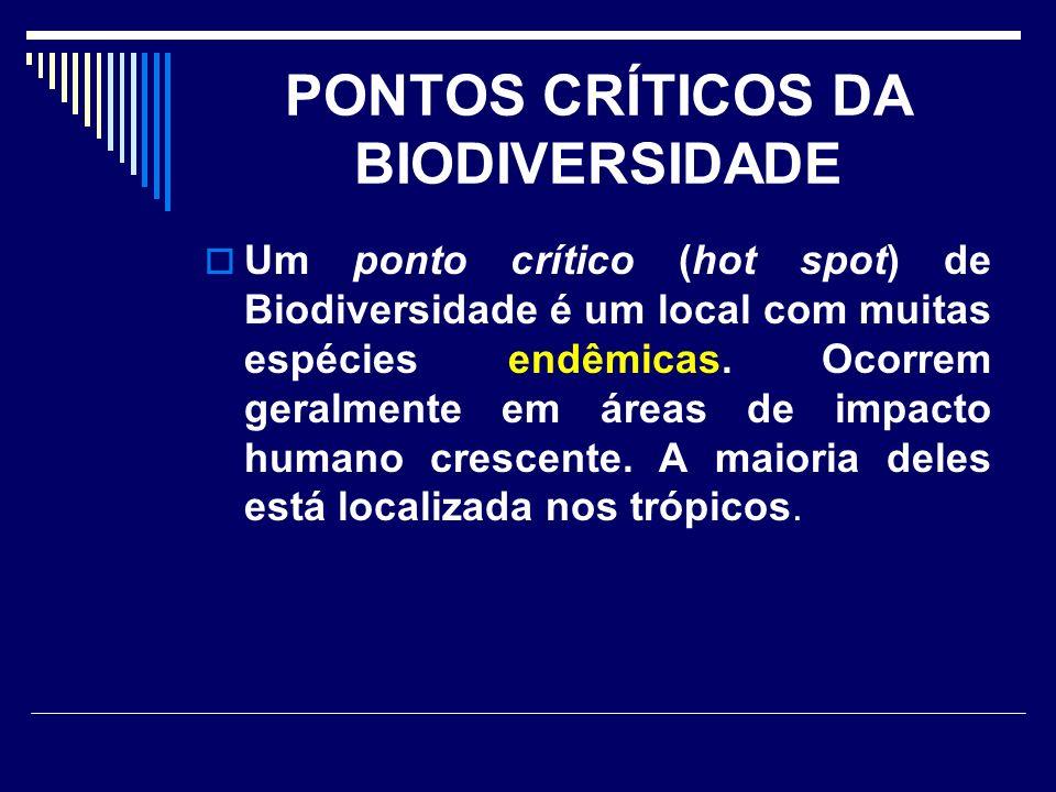 PONTOS CRÍTICOS DA BIODIVERSIDADE Um ponto crítico (hot spot) de Biodiversidade é um local com muitas espécies endêmicas. Ocorrem geralmente em áreas