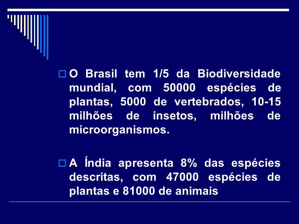 O Brasil tem 1/5 da Biodiversidade mundial, com 50000 espécies de plantas, 5000 de vertebrados, 10-15 milhões de insetos, milhões de microorganismos.