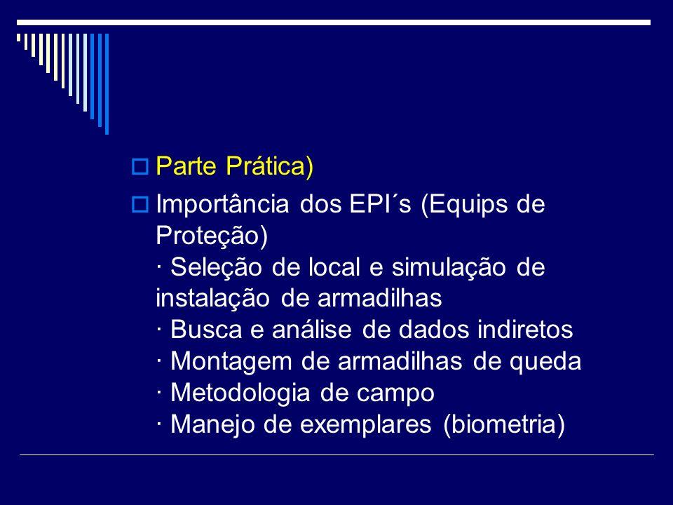 Parte Prática) Importância dos EPI´s (Equips de Proteção) · Seleção de local e simulação de instalação de armadilhas · Busca e análise de dados indire