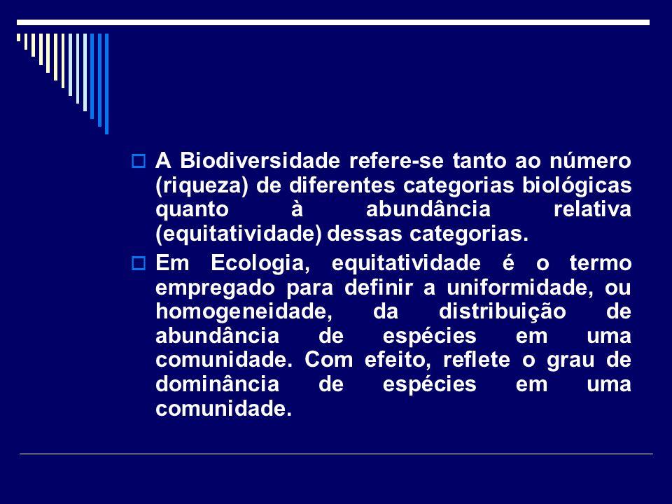 A Biodiversidade refere-se tanto ao número (riqueza) de diferentes categorias biológicas quanto à abundância relativa (equitatividade) dessas categori