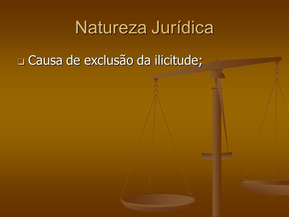 Natureza Jurídica Causa de exclusão da ilicitude; Causa de exclusão da ilicitude;