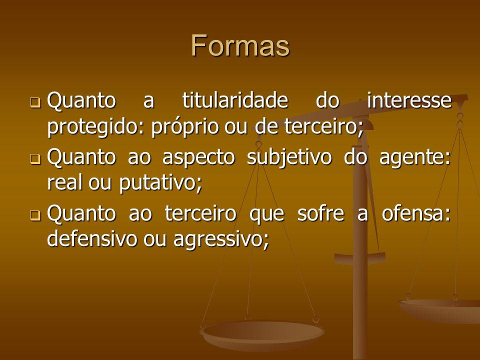 Formas Quanto a titularidade do interesse protegido: próprio ou de terceiro; Quanto a titularidade do interesse protegido: próprio ou de terceiro; Qua