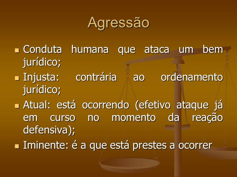 Agressão Conduta humana que ataca um bem jurídico; Conduta humana que ataca um bem jurídico; Injusta: contrária ao ordenamento jurídico; Injusta: cont