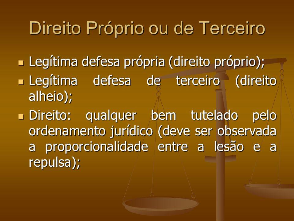 Direito Próprio ou de Terceiro Legítima defesa própria (direito próprio); Legítima defesa própria (direito próprio); Legítima defesa de terceiro (dire