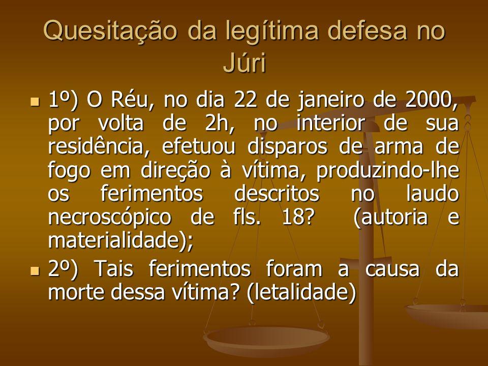 Quesitação da legítima defesa no Júri 1º) O Réu, no dia 22 de janeiro de 2000, por volta de 2h, no interior de sua residência, efetuou disparos de arm
