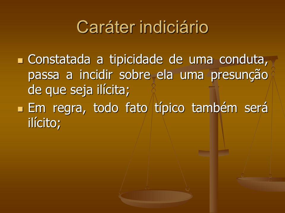 Caráter indiciário Constatada a tipicidade de uma conduta, passa a incidir sobre ela uma presunção de que seja ilícita; Constatada a tipicidade de uma