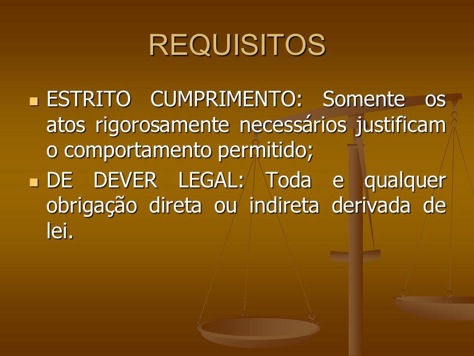 REQUISITOS ESTRITO CUMPRIMENTO: Somente os atos rigorosamente necessários justificam o comportamento permitido; ESTRITO CUMPRIMENTO: Somente os atos r
