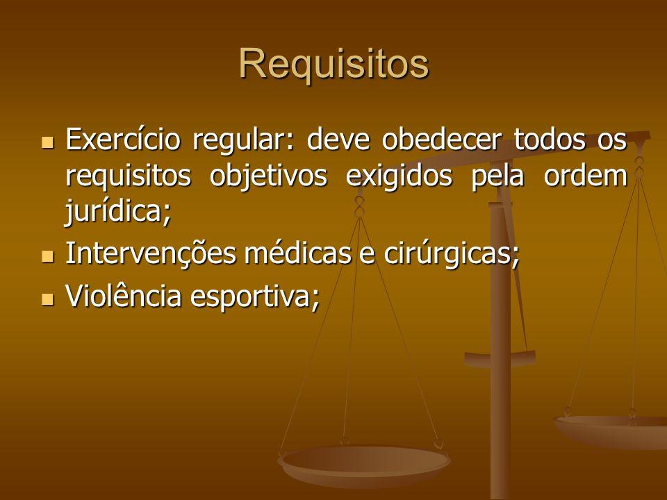 Requisitos Exercício regular: deve obedecer todos os requisitos objetivos exigidos pela ordem jurídica; Exercício regular: deve obedecer todos os requ