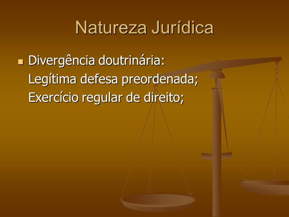 Natureza Jurídica Divergência doutrinária: Divergência doutrinária: Legítima defesa preordenada; Exercício regular de direito;