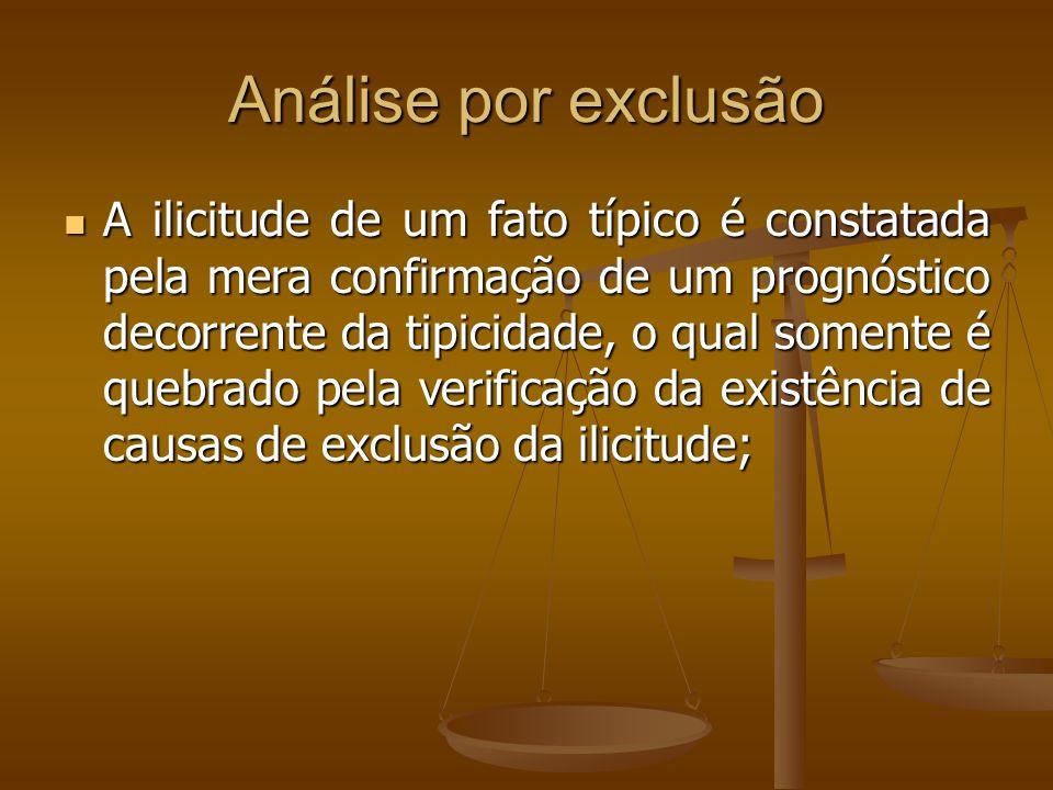 Análise por exclusão A ilicitude de um fato típico é constatada pela mera confirmação de um prognóstico decorrente da tipicidade, o qual somente é que