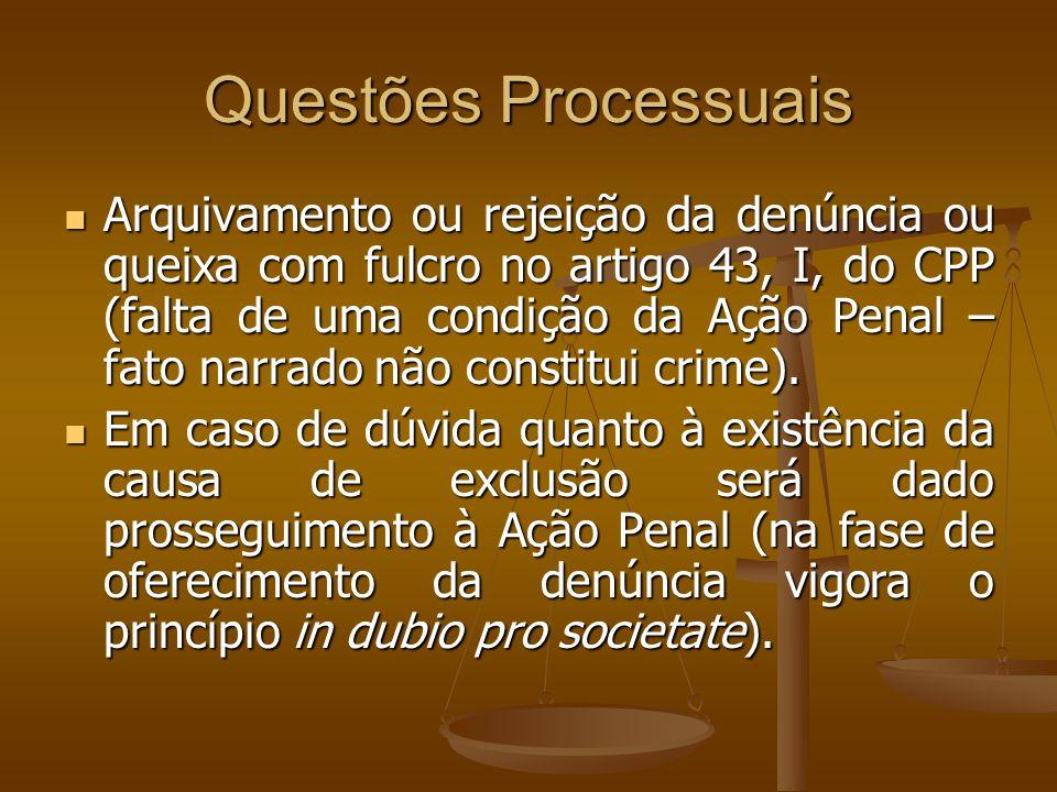 Questões Processuais Arquivamento ou rejeição da denúncia ou queixa com fulcro no artigo 43, I, do CPP (falta de uma condição da Ação Penal – fato nar