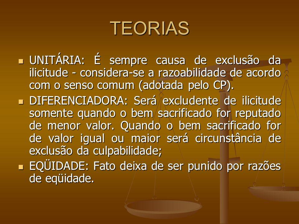 TEORIAS UNITÁRIA: É sempre causa de exclusão da ilicitude - considera-se a razoabilidade de acordo com o senso comum (adotada pelo CP). UNITÁRIA: É se
